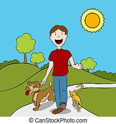 marche, sien, parc, animaux familiers, homme