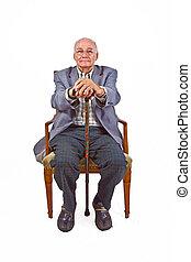 marche, sien, vieux, séance, fauteuil, homme bâton