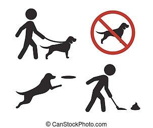 marche, signes, chien, icônes
