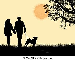 marche, silhouette, couple, chien, leur, coucher soleil