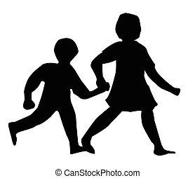 marche, silhouette, enfants