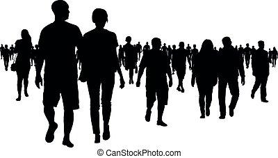 marche, silhouette, foule, gens