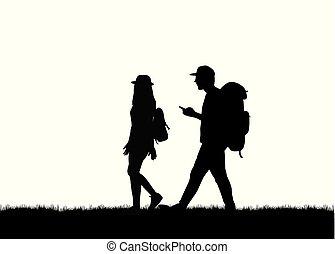 marche., silhouette, gens