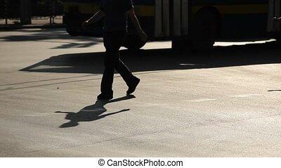 marche, silhouette, gens