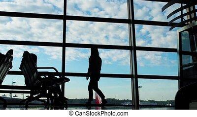 marche, silhouette, professionnels, aéroport, groupe