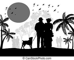 marche, silhouette, vendange, couple, chien, leur