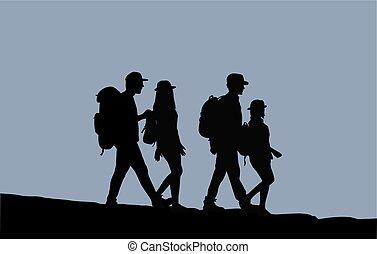 marche., silhouettes, gens
