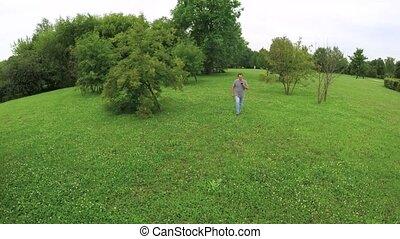 marche, smartphone, parc, tenue, homme