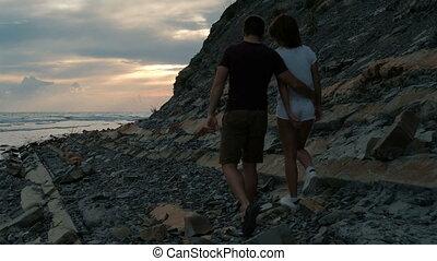 marche, soir, amour, rocheux, couple, jeune, plage.