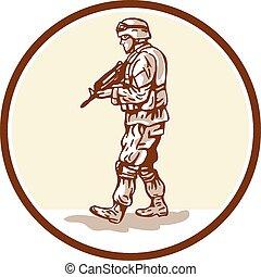 marche, soldat, américain, fusil, cercle, dessin animé