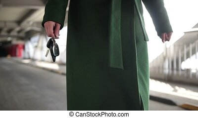 marche, tenue femme, voiture, moderne, clã©