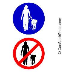 marche, trafic, chien, signes