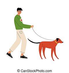 marche, travail, chien, illustration, vecteur, volontaire, homme