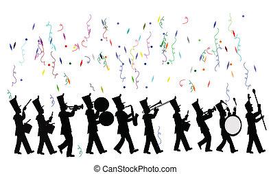 marcher, célébration, bande
