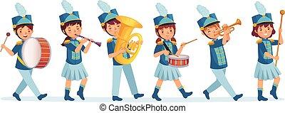 marcher, vecteur, dessin animé, jouer, bande, enfant, musiciens, illustration, musique, parade., childrens, mars, bruyant, instruments, gosses