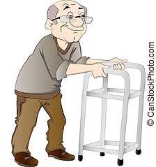 marcheur, homme, vieux, illustration, utilisation