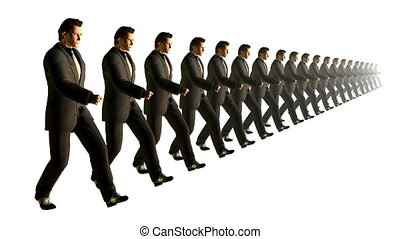 marching., lent, looping., business, mouvement, équipe