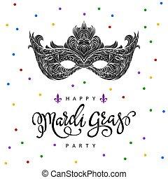 mardi, mask., noir, carnaval, gras