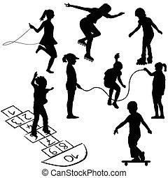 marelle, enfants jouer, corde, actif, sauter, cylindre patine, ou, kids.
