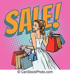 mariée, achats, femme, sacs