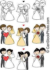 mariée, agréable, palefrenier