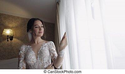 mariée, fenêtre., preparations., matin, boudoir, robe, nuit, voile, robe, mariage, femme