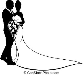 mariée, fleurs, palefrenier, silhouette, mariage