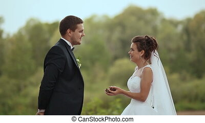 mariée, jeter, palefrenier, cônes, forêt