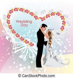 mariée, jour, palefrenier, mariage