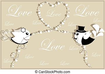 mariée, marié., oiseaux