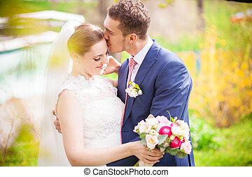 mariée, mariage, palefrenier, printemps