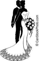 mariée, mariage, silhouette, palefrenier