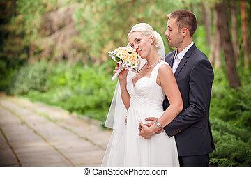 mariée, palefrenier, classique, mariage
