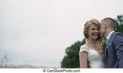 mariée, palefrenier, parc