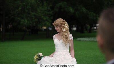 mariée, parc, entourer