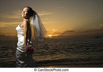 mariée, plage.