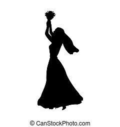 mariée, silhouette, fleurs, jets, bouquet