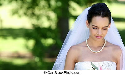 mariée, sourire, appareil photo, beau