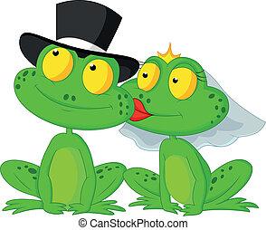 mariés, dessin animé, grenouille, baisers