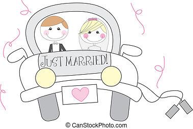 mariés, dessin animé, juste