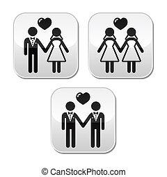 mariés, hetero, mariage, gay