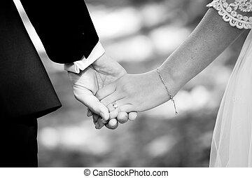 mariés, mains, tenue, couple, jeune