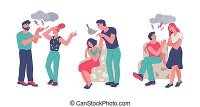 mariés, problème, contradictoire, ou, couples., relation, famille, conflit