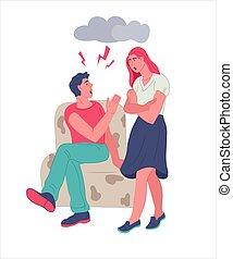 mariés, problème, couple, -, ou, arguing., malheureux, relation, famille, conflit