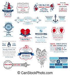 mariage, -, collection, vecteur, invitation, album, conception