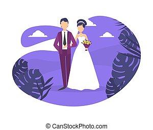 mariage, couple marié, plat, jour, embrasser, recours, heureux, vecteur, juste, romantique, illustration, exotique, plage nuit