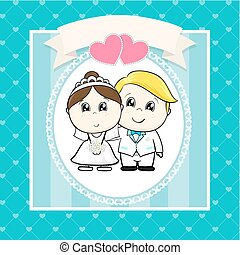 mariage, dessin animé, invitation