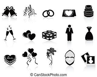 mariage, ensemble, noir, icônes