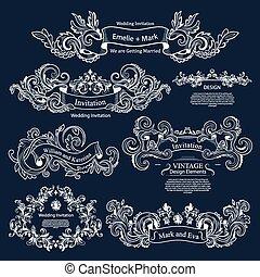 mariage, ensemble, victorien, vendange, design., ornaments.