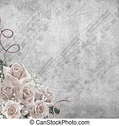 mariage, fond, roses, jour, notes
